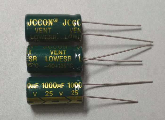 1000µF-25V 105C 10x20mm Low ESR JcCon - конденсатор