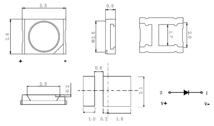 Светодиоды подсветки матрицы Jufei led 3528 (2835) 6V 180mA 1,2W smd - размеры