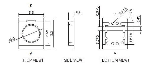 Светодиоды подсветки матрицы Seoul led 3528 (2835) 3V 400mA 1W (cold white) smd - размеры