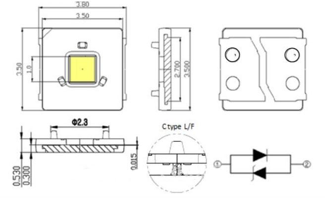 Светодиоды подсветки матрицы Lumens led 3535 smd 3V - даташит, размеры