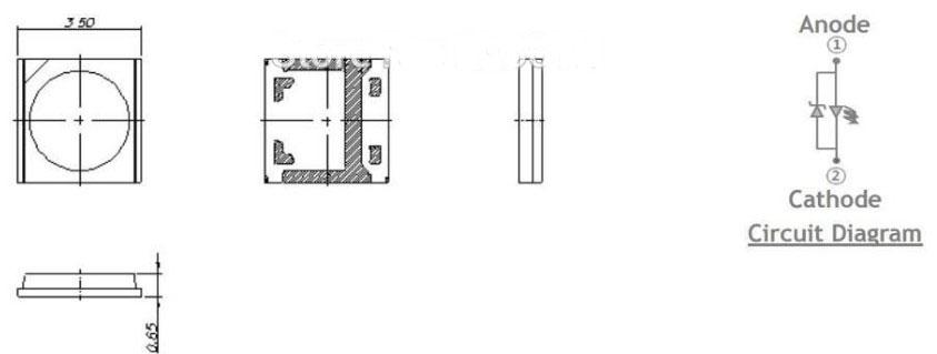Светодиоды подсветки матрицы Wooree led 3535 smd 6V - размеры