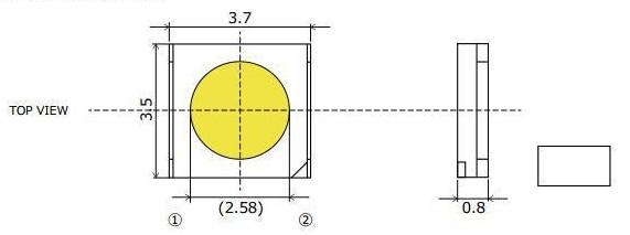 Светодиоды подсветки матрицы Sharp led 3535 6V 175mA 1W smd - размеры