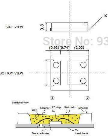 Светодиоды подсветки матрицы Sharp led 3535 6V 175mA 1W smd - подложка