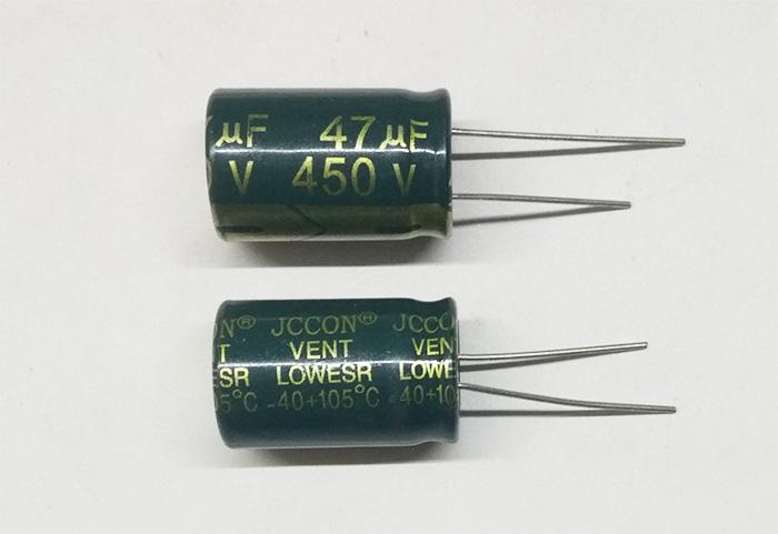 Сетевой электролитический конденсатор 47мкФ 450В 105ºС 16x25мм Low ESR Jccon