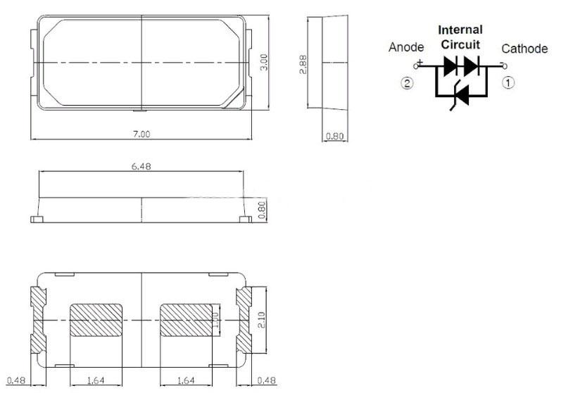 Светодиоды подсветки матрицы LG Innotek led 7030 6V 140mA 1W smd - размеры