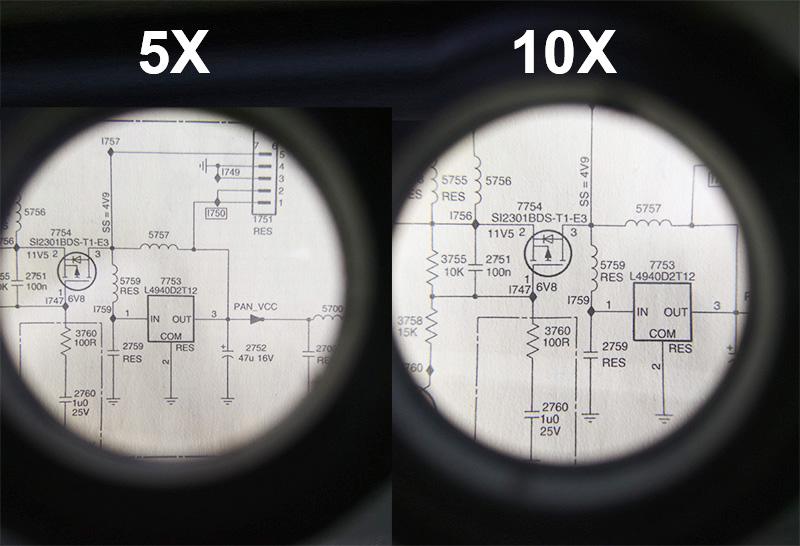 Пример увеличения лупы часовой 5х и 10х