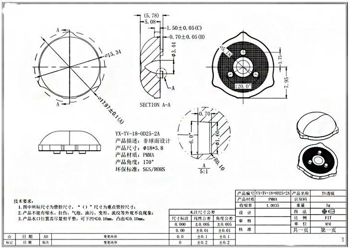 Оптическая рассеивающая линза (пуговка) для светодиодных планок LG - даташит