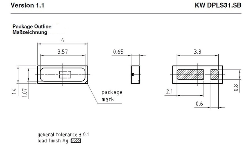 Светодиоды подсветки матрицы Osram led 4014 3V 180mА 0,5W smd - размеры