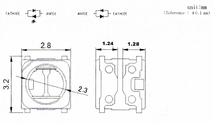 Светодиоды подсветки матрицы Lumens (Samsung) led 2828 (3228) 3V 570mА 1,5W smd (квадрат) - размеры