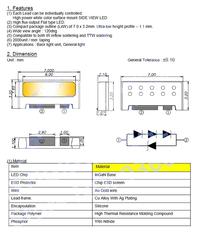 Светодиоды подсветки матрицы Edge (Samsung) led 7032 9V 200mA 2W smd - даташит