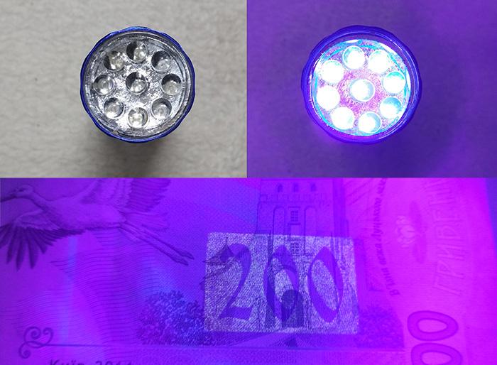 УФ фонарик (UV лампа) для клея, лака, уф-детектор валюты