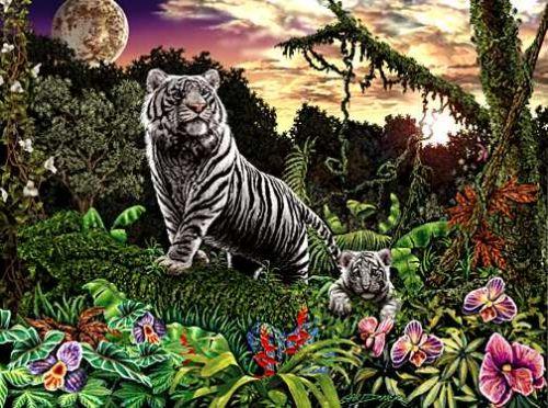 Папа-тигр и малыш