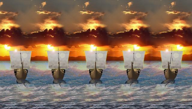 Корабли в закате