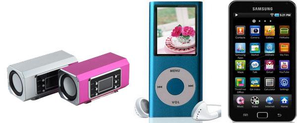 MP3 BOX, МР4-плеєр та мобільний телефон