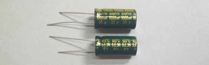 Электролитический конденсатор 1000мкФ 35В 105ºС 10x20мм Low ESR Sanyo