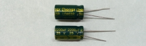 2200µF 25V 105C 10x20mm Low ESR Nichicon - конденсатор
